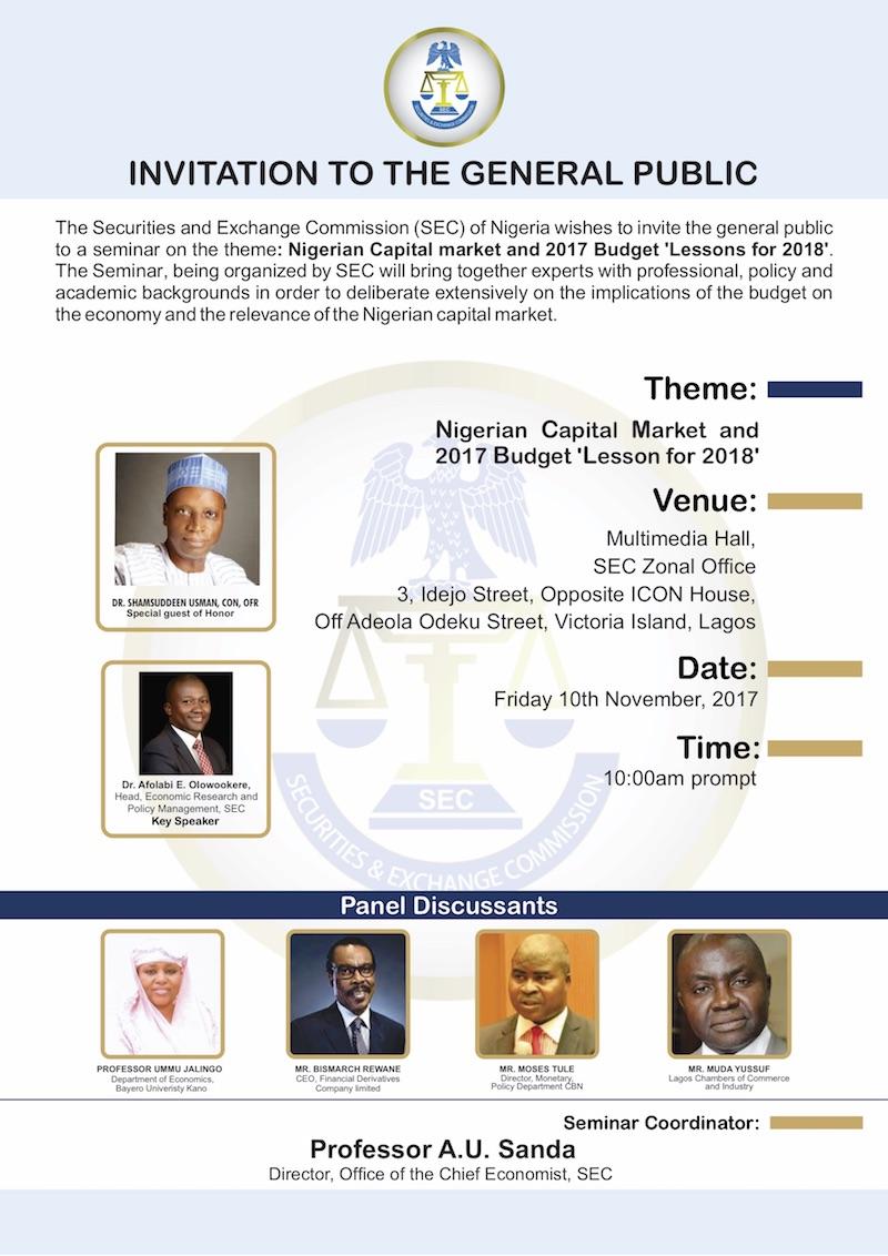 SEC NIGERIA Budget seminar NOV 2017